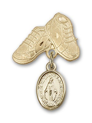 Baby Pin with Miraculous Charm and Baby Boots Pin - 14K Yellow Gold