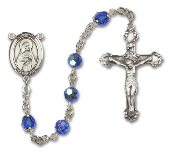 St. Rita of Cascia Sterling Silver Heirloom Rosary Fancy Crucifix - Sapphire