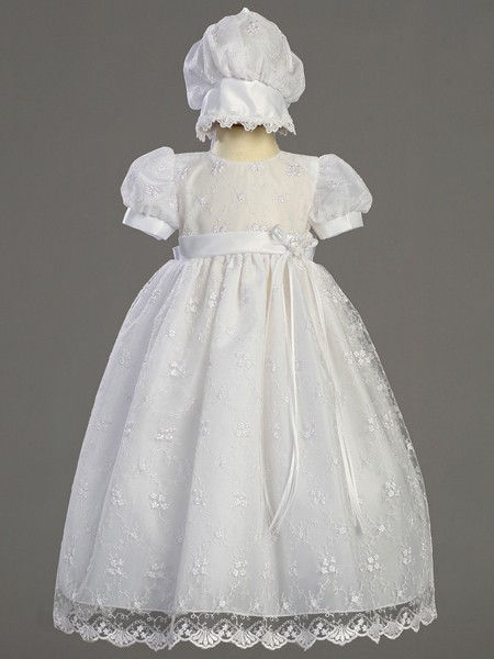 Emma Embroidered Tulle Daylength Baptism Dress - White
