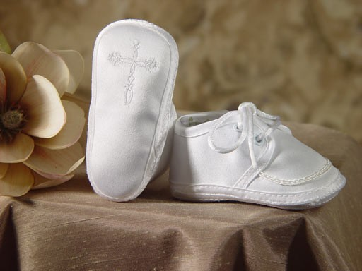 Boys Satin Shoe with Celtic Cross - White