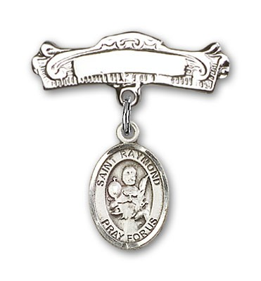 Pin Badge with St. Raymond Nonnatus Charm and Arched Polished Engravable Badge Pin - Silver tone