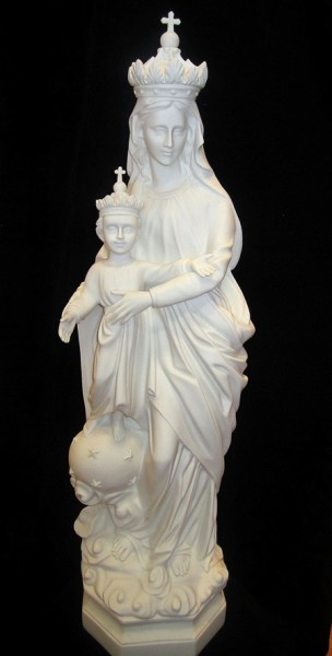 Our Lady of Crown Statue White Marble Composite - 32 inch - White