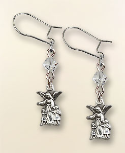 Sterling Silver Guardian Angel 'Crystal Bead' Earrings - Sterling Silver