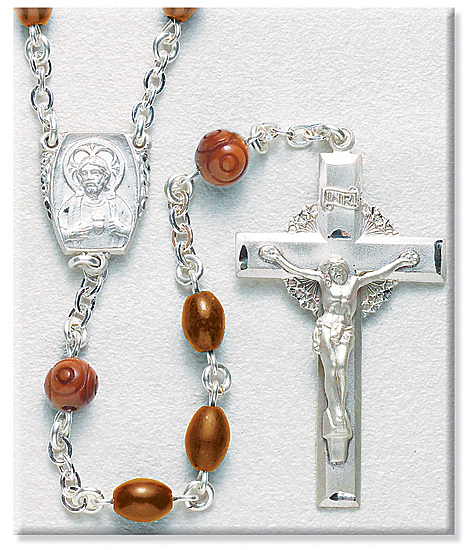 Men's Rosary 8mm Brown Cocoa Beads and Sterling Silver - Brown