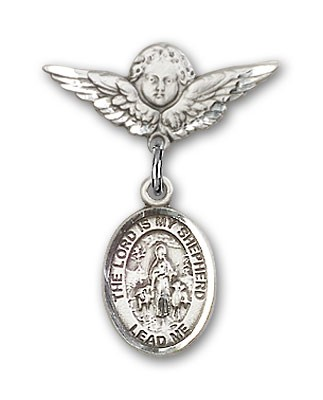Pin Badge with Lord Is My Shepherd Charm and Angel with Smaller Wings Badge Pin - Silver tone