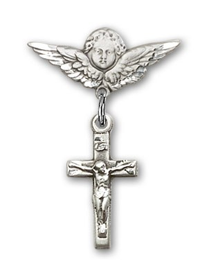 Pin Badge with Crucifix Charm and Angel with Smaller Wings Badge Pin - Silver tone