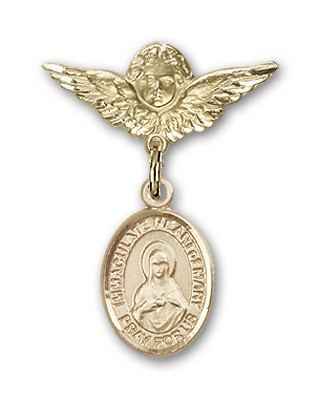 Pin Badge with Immaculate Heart of Mary Charm and Angel with Smaller Wings Badge Pin - 14K Solid Gold