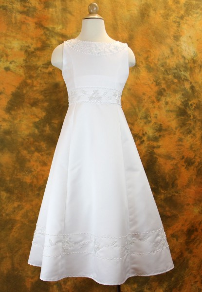 Plus Size Beaded Satin First Communion Dress with Shawl - White