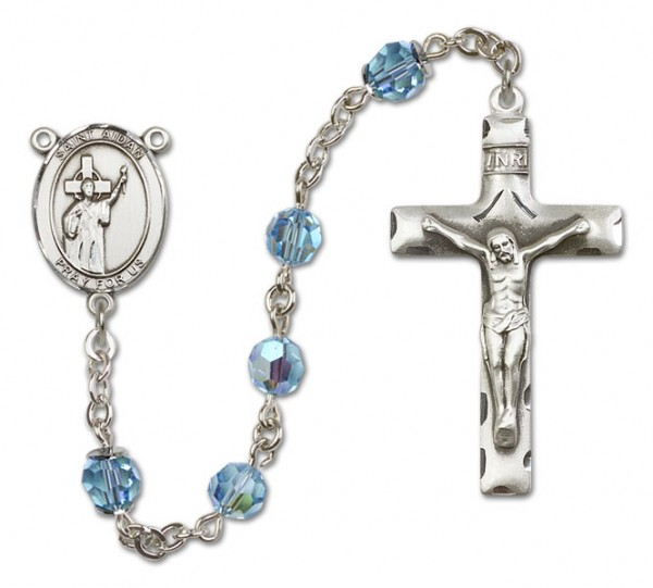 St. Aidan of Lindesfarne Sterling Silver Heirloom Rosary Squared Crucifix - Aqua