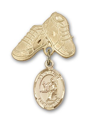 Pin Badge with St. Luke the Apostle Charm and Baby Boots Pin - Gold Tone