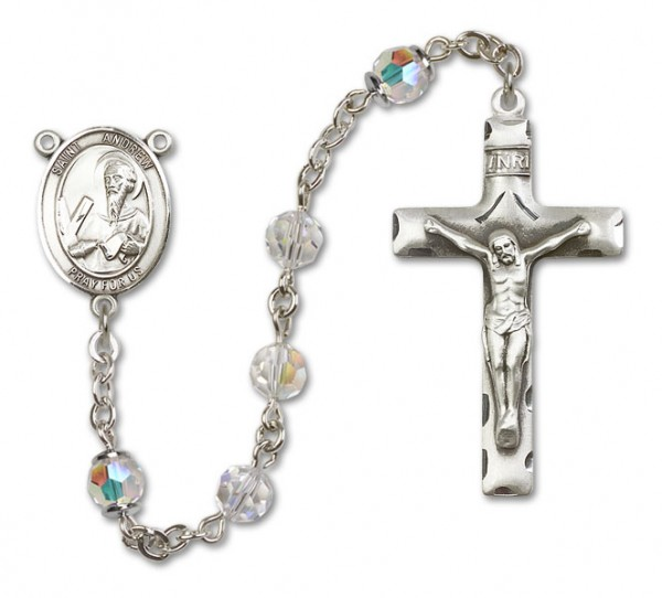 St. Andrew the Apostle Rosary Heirloom Squared Crucifix - Crystal