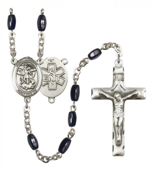 Men's St. Michael EMT Silver Plated Rosary - Black | Silver