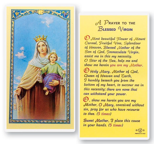 Our Lady of Mt. Carmel Laminated Prayer Cards 25 Pack - Full Color