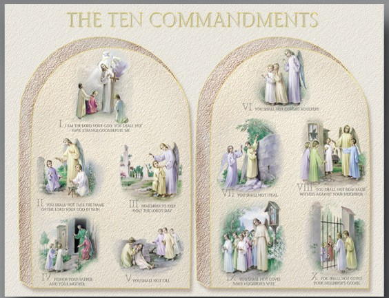 "Ten Commandments Large Poster - 27""W x 19""H - Full Color"