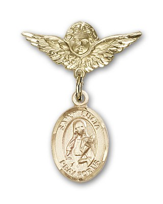 Pin Badge with St. Lucia of Syracuse Charm and Angel with Smaller Wings Badge Pin - 14K Yellow Gold