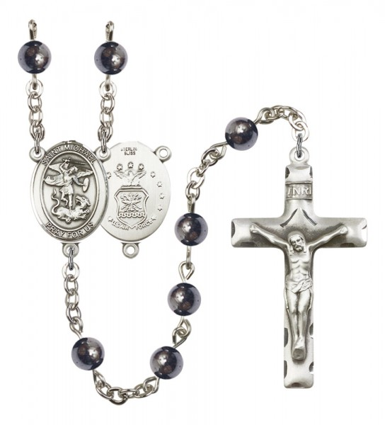 Men's St. Michael Air Force Silver Plated Rosary - Gray