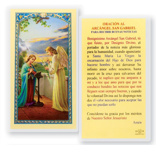 Oracion Al Santo Angel Gabriel Laminated Spanish Prayer Cards 25 Pack - Full Color