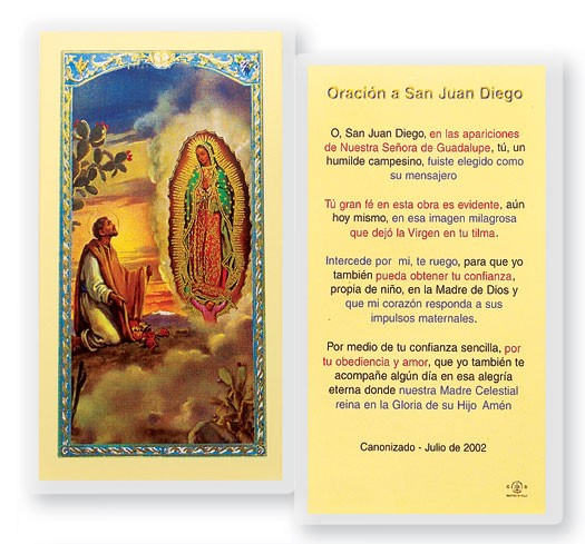 St Juan Diego Laminated Spanish Prayer Cards 25 Pack - Full Color