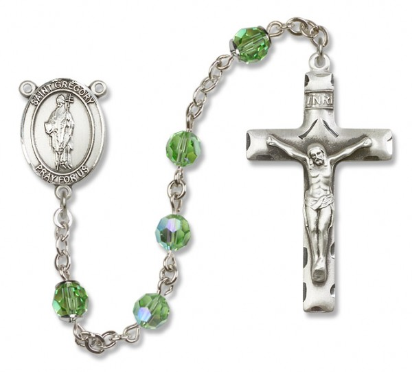 St. Gregory the Great Sterling Silver Heirloom Rosary Squared Crucifix - Peridot