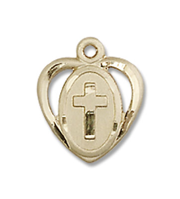 Baby Heart and Cross Pendant - 14K Yellow Gold