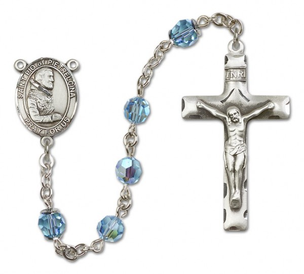 St. Pio of Pietrelcina Sterling Silver Heirloom Rosary Squared Crucifix - Aqua
