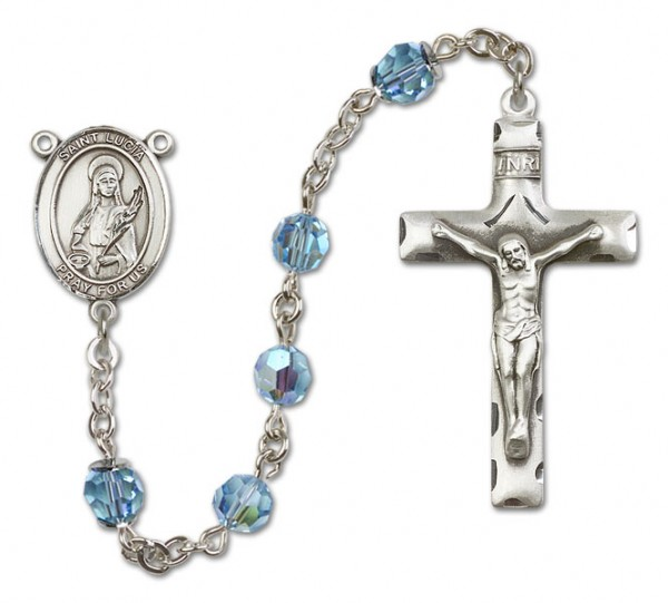 St. Lucia of Syracuse Sterling Silver Heirloom Rosary Squared Crucifix - Aqua