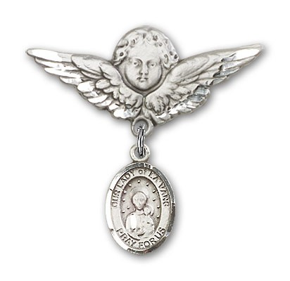 Pin Badge with Our Lady of la Vang Charm and Angel with Larger Wings Badge Pin - Silver tone