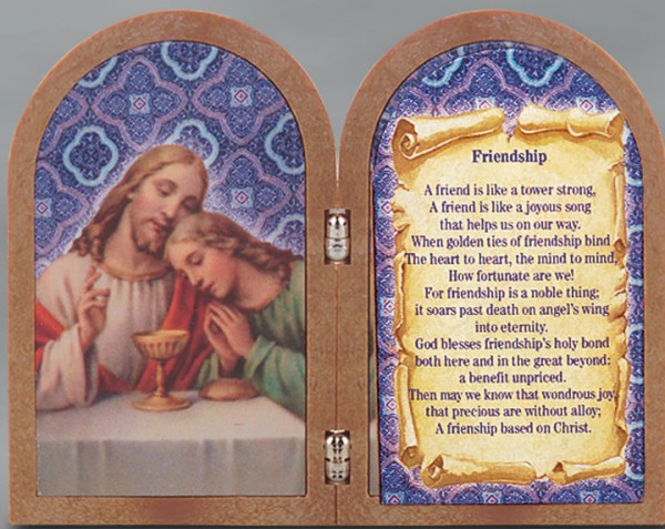 Friendship Diptych Standing Prayer Plaque - Full Color