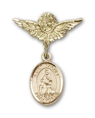 Pin Badge with St. Rachel Charm and Angel with Smaller Wings Badge Pin - 14K Solid Gold
