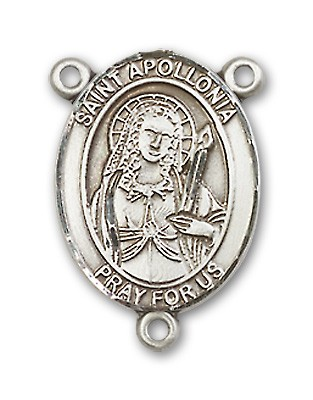 St. Apollonia Rosary Centerpiece Sterling Silver or Pewter - Sterling Silver