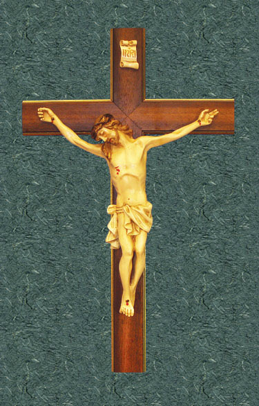 "Solid Wood Crucifix with Hand Painted corpus 20"" - Multi-Color"