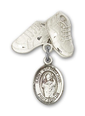 Pin Badge with St. Stanislaus Charm and Baby Boots Pin - Silver tone