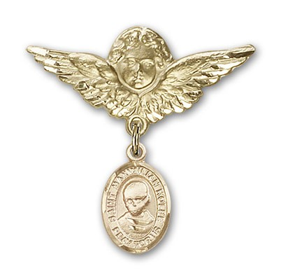 Pin Badge with St. Maximilian Kolbe Charm and Angel with Larger Wings Badge Pin - 14K Yellow Gold