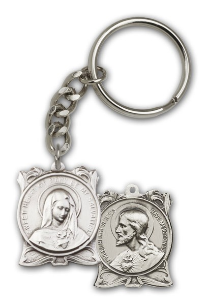 Immaculate Heart of Mary and Sacred Heart of Jesus Keychain - Antique Silver