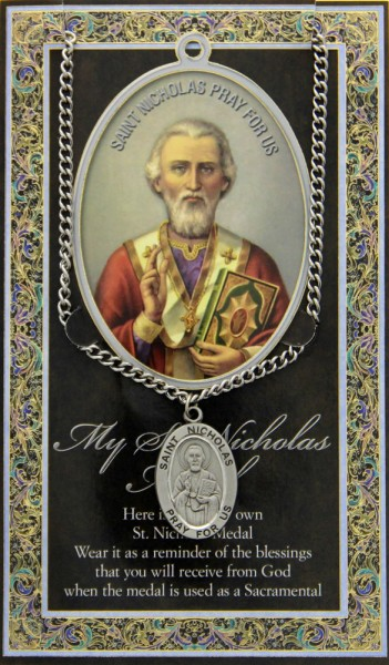 St. Nicholas Medal in Pewter with Bi-Fold Prayer Card - Silver tone