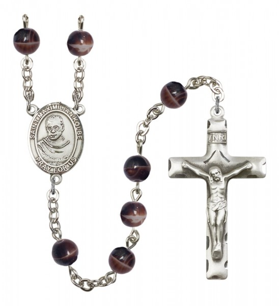 Men's St. Maximilian Kolbe Silver Plated Rosary - Brown