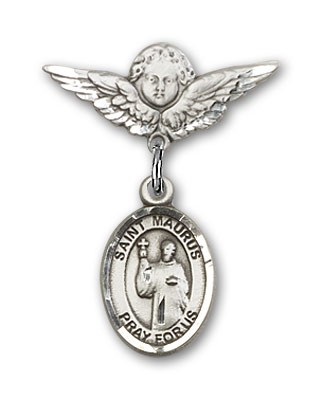 Pin Badge with St. Maurus Charm and Angel with Smaller Wings Badge Pin - Silver tone