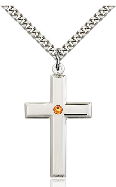 Large Plain Cross Pendant with Birthstone Options - Topaz