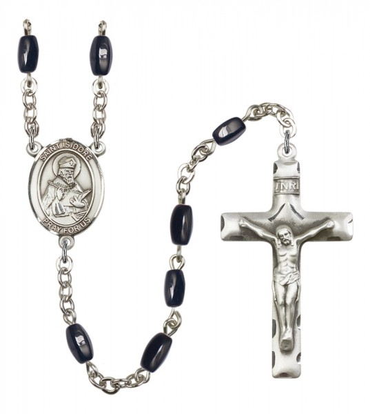 Men's St. Isidore of Seville Silver Plated Rosary - Black | Silver