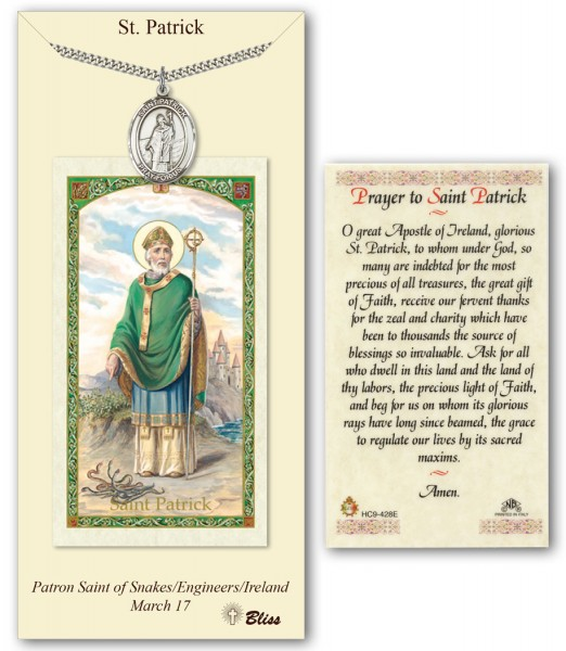 St. Patrick Medal in Pewter with Prayer Card - Silver tone