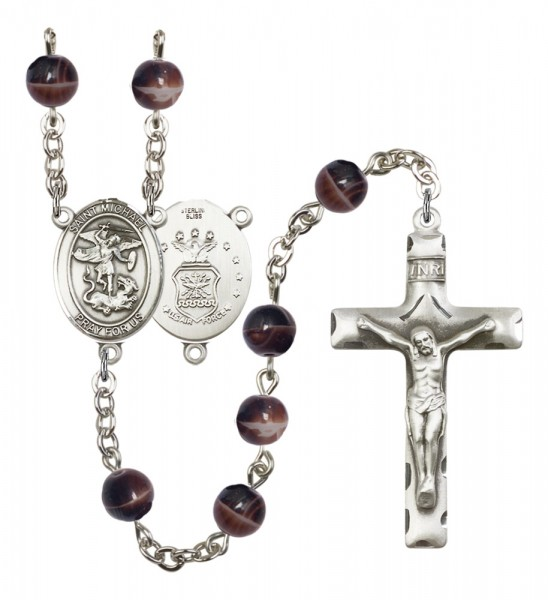Men's St. Michael Air Force Silver Plated Rosary - Brown