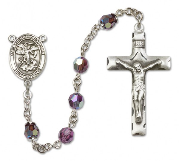 San Miguel the Archangel Sterling Silver Heirloom Rosary Squared Crucifix - Amethyst