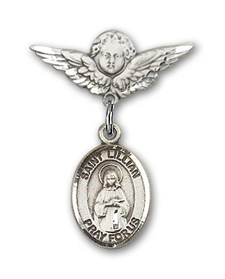 Pin Badge with St. Lillian Charm and Angel with Smaller Wings Badge Pin - Silver tone