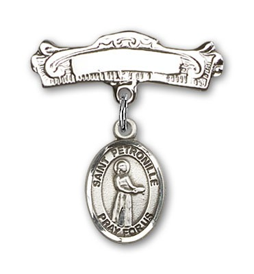 Pin Badge with St. Petronille Charm and Arched Polished Engravable Badge Pin - Silver tone