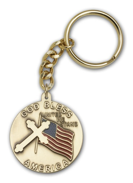 God Bless America Keychain - Antique Gold