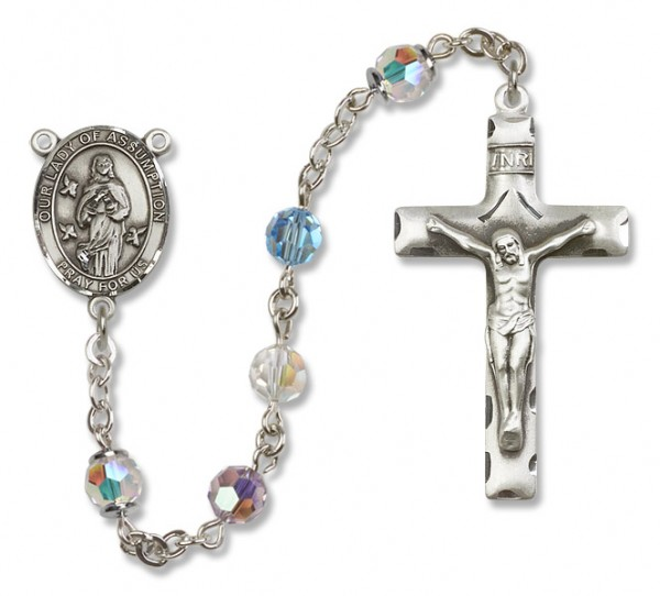 Our Lady of Assumption Rosary Heirloom Squared Crucifix - Multi-Color