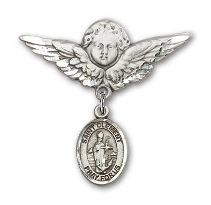 Pin Badge with St. Clement Charm and Angel with Larger Wings Badge Pin - Silver tone