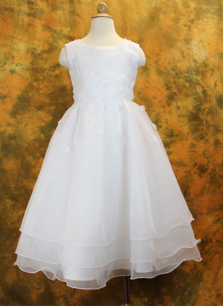 First Communion Dress with Embroidered Organza & Pearls - White