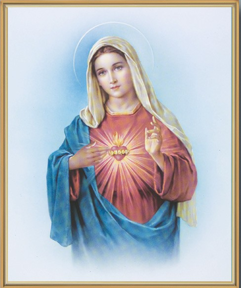 Immaculate Heart of Mary Gold Framed Print - Full Color