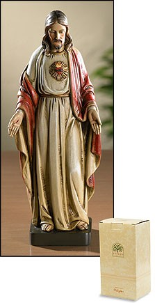 "Sacred Heart of Jesus Statue - 8""H - Multi-Color"